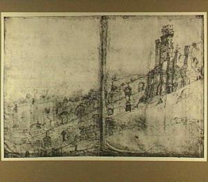 Rome, 'Frontespizio di Nerone', ruïne van de Serapistempel in het forum van Nerva op de Quirinaal