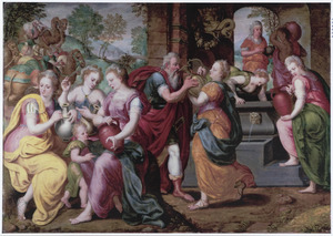 Rebekka geeft Eliëzer uit haar kruik te drinken aan de bron (Genesis 24:1-67)