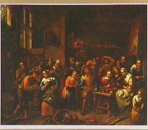 Drinkend en rokend gezelschap in een herberg