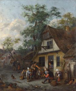 Straatmuzikanten in een dorpsstraat met boeren