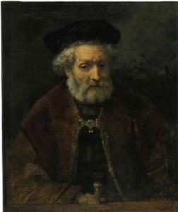 Borststuk van een oude man met baret
