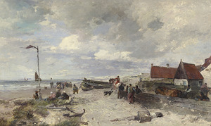 Strandgezicht met vissers wachtend op de binnenkomst van de vissersvloot