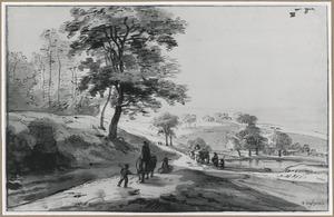 Heuvellandschap met reizigers