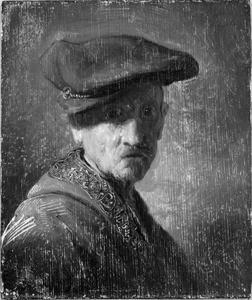 Borststuk van een man met een baret