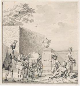 De drie kinderen van stadhouder Willem V met één van hun zwarte bedienden (Cupido of Sideron)