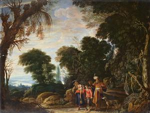 Boslandschap met de verstoting van Hagar en Ismael door Abraham (Genesis 21:9-21)