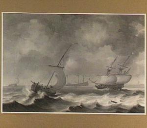 Hollandse schepen op ruw water