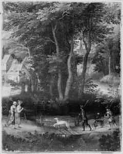 Boslandschap met boerinnen en jagers