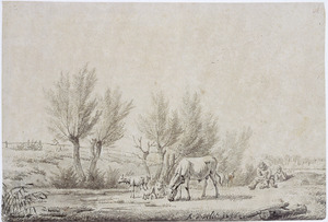 Landschap met rustende herders en vee