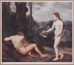 De zondeval: Eva biedt Adam de appel aan (Genesis 3:6)