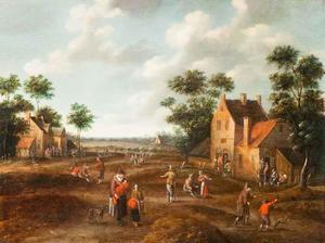 Gezicht op een dorpsstraat met figuren
