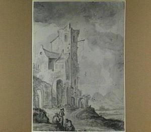 Italianiserend landschap met vervallen bouwwerk en figuren