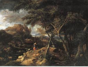 Italiaans arcadisch landschap met herders