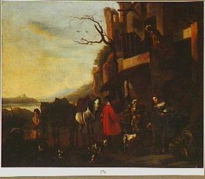 Rustende ruiters voor een herberg (de jager rechts is een vrouw in mannenkleren)