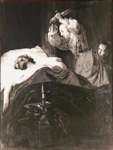 Judith onthoofdt Holofernes in zijn slaap met zijn eigen zwaard (Judith 8-16)