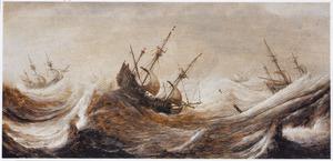 Schepen op zee bij vliegende storm