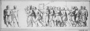 Twee figuren uit de Boog van Constantijn (links); triomftocht uit de Boog van Titus in Rome met de schatten uit de Tempel in Jeruzalem