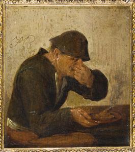 Man die zijn neus dichtknijpt; allegorie op de reuk