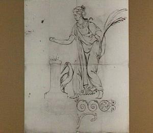 Offerende vrouw in klassiek gewaad met ooievaar en palmtak