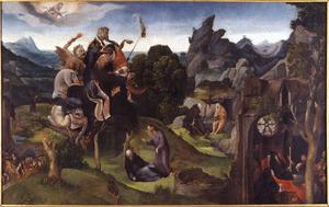 Taferelen uit het leven van de H. Antonius Abt: Antonius in de woestijn, duivels verhinderen Antonius' opgang naar de hemel, Christus verschijnt aan Antonius in zijn slaap, de ontmoeting met de H. Paulus in de woestijn en de dood van Antonius