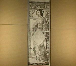 Staande vrouwenfiguur met een ruitvormig schild, voor een stenen nis