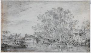 Rivierlandschap met brug, vissers en hooiberg