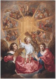 De verheerlijking van het monogram van Christus omringd door kruiswegstaties