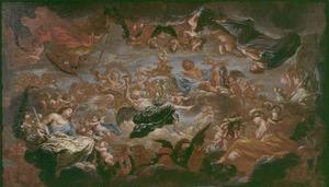 Allegorie met de vier kardinale deugden en Jupiter een monogram kronend