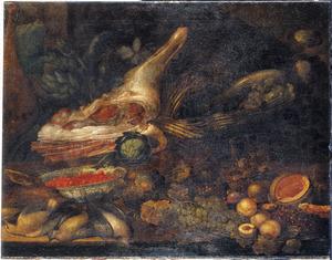 Stilleven met gevogelte, vruchten, groente en een varkenspoot