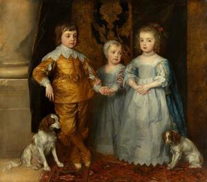 De drie oudste kinderen van Karel I Stuart (1600-1649) en Henriëtta Maria de Bourbon (1609-1669): Charles (1630-1685), Mary (1631-1666) en James (1633-1685), met twee spaniëls