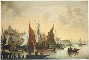 Gezicht op de Oude Hoofdpoort in Rotterdam met vissers op de voorgrond