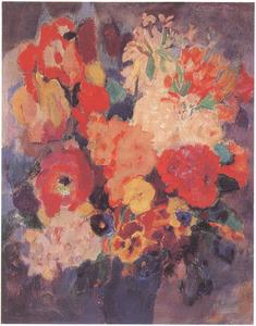 Stilleven met bloemen in blauwe vaas