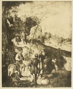 Landschap met Abraham en Isaak op weg naar de offerplaats in de bergen van het land Moria  (Genesis 22:3-6)