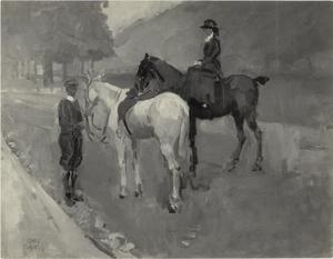 Amazone te paard in Hyde Park, Rotton Row, Londen