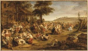 Feestende en dansende boeren
