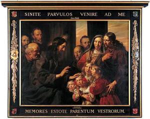 Christus de kinderen zegenend : 'laat de kinderkens tot mij komen': Portrait historié van Pieter Braems (....-1675) Emerentia van der Laen (....-1667) en hun kinderen