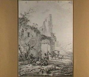 Landschap met rustende herders en vee bij een ruïne