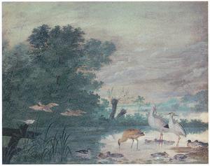 Rivierlandschap met eenden en reigers