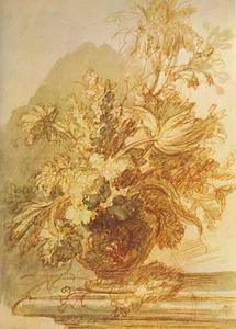 Bloemstilleven in een vaas en een vogelnest op een balustrade