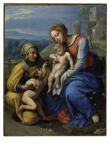 De Madonna met het kind en Elisaberth met Johannes de Doper met een spreeuw