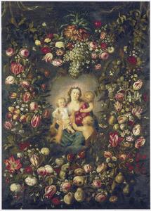 Guirlande van bloemen en vruchten rond een voorstelling van Caritas