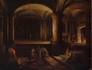 In een portiek in een paleis