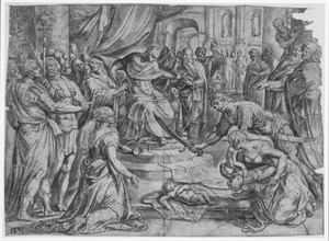 Het oordeel van koning Salomo: Salomo beveelt de beul het levende kind te halveren, de ware moeder protesteert tegen het oordeel (1 Koningen 3:16-28)
