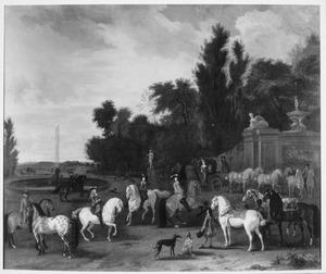 Groepsportret van ruiters, waaronder Joan Ortt (1642-1701), Abraham Ortt (1650-1695), Anna Pergens (1650-1732) en Johan Ortt (1685-1740)