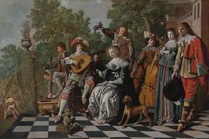 Elegant musicerend gezelschap op een terras