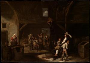 Rokende en drinkende soldaten in een schuur