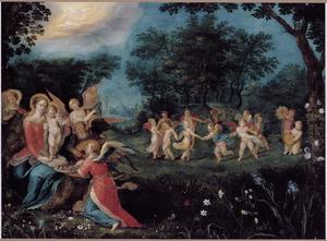 Boslandschap met de Madonna en musicerende en dansende engelen