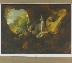 Pallas en Odysseus in een grot; op de achtergrond de