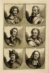 Portretten van Michel le Blon (1587-1658), Aegidius Sadeler (?-1629), Georg Petel (?-1634), Matthäus Merian I (1593-1650), Rembrandt  (1606-1669) en Karel Sotnovsky Skreta (1610-1674)