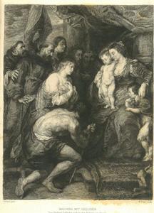 Madonna met kind door heiligen vereerd